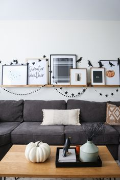 The Easy Way to Hang Your Halloween Decor and a Look at Ours! - Pretty Real Easy Halloween Decorations, Bird Prints, Seasonal Decor, Gallery Wall, Living Rooms, Pretty, Holidays, Furniture, Fall