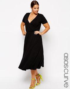 Midi Skater Dress With Wrap Front, $48.37, ASOS | Community Post: 27 Fabulous Plus Size Little Black Dresses Under $50