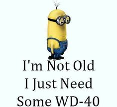 I'm Not Old, I Just Need Some WD-40 funny lol funny quotes humor funny pictures funny photos funny images minion quotes hilarious pictures