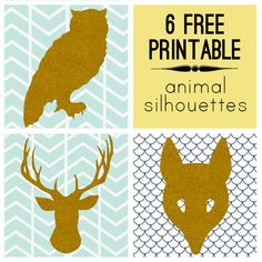 6 Modern Free Printable Animal Silhouettes....print and cut out, trace onto canvas & paint...instant fall art