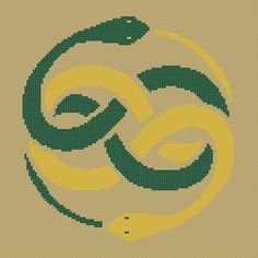 Snake Cross Stitch Pattern - Tribal Auryn - Never Ending Story - Chart - by kanitted Celtic Cross Stitch, Small Cross Stitch, Beaded Cross Stitch, Crochet Cross, Cross Stitch Designs, Cross Stitch Patterns, Tribal Patterns, Perler Patterns, Loom Patterns
