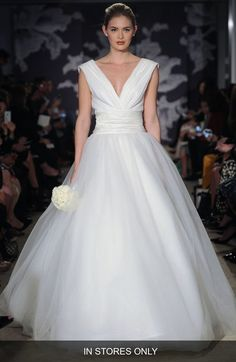 Carolina Herrera 'Chloe' V-Neck Georgette & Tulle Ballgown (In Stores Only) available at #Nordstrom || saved by Chrissy Kapp Blair Pinterest
