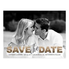 Faux Gold Glitter Save the Date Photo Postcard