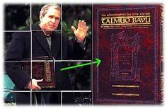 George W. Bush holding the satanic Talmud.