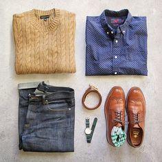 Winter with a chance of spring. Shirt: @grayers paisley poplin Sweater: @bananarepublic cotton cable knit Denim: @apc_paris petit new standard Belt: @miansai Watch: @jcrew @timex Shoes: Alden Socks: @jcrew