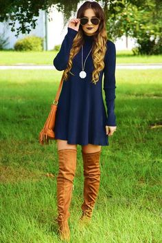 Leave The Light On Dress: Navy