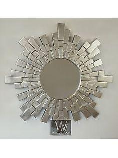 Solar Silver Art Deco Sunburst Round Wall Mirror 43
