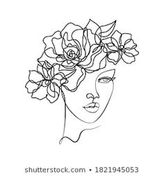 Cartera de fotos e imágenes de stock de LivDeco | Shutterstock Abstract Face Art, Abstract Drawings, Easy Drawings, Line Drawing, Drawing Sketches, Drawing Art, Outline Art, Art Painting Gallery, Minimalist Drawing