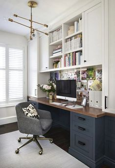 Looking some home office remodel ideas? Creating a comfy home office is a must. We can help you. Check out our home office ideas here and get inspired Home Office Space, Home Office Design, Home Office Decor, Home Decor, Office Designs, Closet Office, Small Home Offices, Modern Offices, At Home Office Ideas