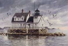 Rockland Lighthouse, a limited edition print of a watercolor painting by Kathy Glasnap of Door County, Wisconsin