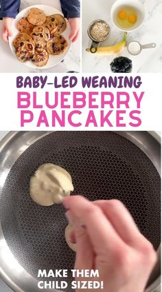 Baby Food Recipes 6 9, Healthy Baby Food, Healthy Toddler Meals, Baby Led Weaning Breakfast, Baby Breakfast, Baby First Foods, Baby Foods, Baby Led Weaning Recipes 6 Months, Healthy Blueberry Pancakes