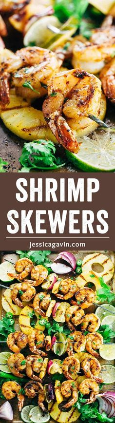 Grilled Shrimp Skewers with Pineapple Sauce - Each shrimp is tossed in bold spices and drizzled with a fresh tropical fruit sauce. A healthy and quick meal! | jessicagavin.com