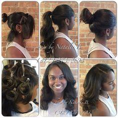 Versatility✅ ...PERFECT PONY SEW-IN HAIR WEAVES by Natalie B. (312) 273-8693...IG: @iamhairbynatalieb...FACEBOOK: Hair by Natalie B. .....ORDER HAIR: www.naturalgirlhair.com.