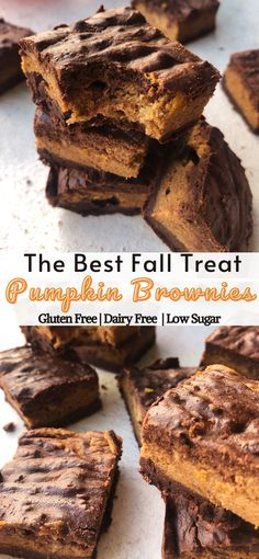 Pumpkin brownies are a delicious mix of fudgy chocolate brownie batter and a pumpkin cinnamon swirl. Making them the perfect fall treat. Gluten free, dairy free and low in sugar.