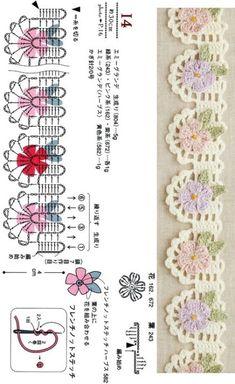[Crochet edging & braid] 34. 코바늘 엣징 도안 : 네이버 블로그 Crochet Lace Edging, Crochet Borders, Crochet Diagram, Crochet Squares, Diy Crochet, Crochet Flowers, Crochet Bookmarks, Crochet Books, Thread Crochet