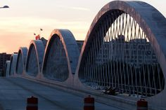 Fort Worth's new 7th Street bridge at sunset, 10-08-2013.  Photo by Gordon Henry