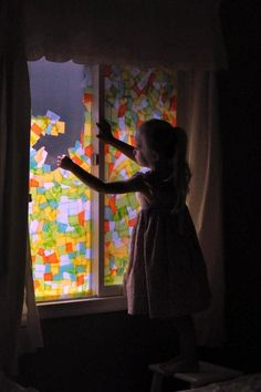 Stained Glass effect - with tissue paper on a window.