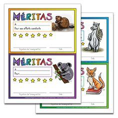 Fichiers PDF téléchargeables Versions en couleurs et en noir et blanc 6 modèles de méritas (2 méritas par page, 3 pages).