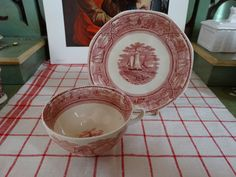 """Mason's """"American Marine"""" Large  Cup and Saucer in Red Transferware. Made in England by HomecomingDiningRoom on Etsy"""