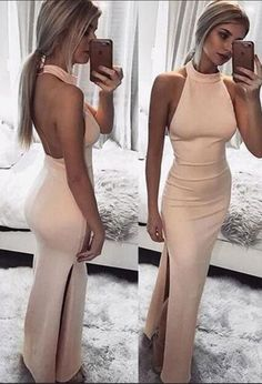 Save up to on this super Sexy Maxi Dress Long Summer Dress Halter Sleeveless Split Backless Evening Dress. Elegant Bridesmaid Dresses, Pink Prom Dresses, Backless Prom Dresses, Long Summer Dresses, Cheap Prom Dresses, Homecoming Dresses, Sexy Dresses, Dress Long, Dress Prom