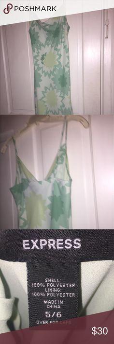 Express sundress sheer layered dress Worn once green light green pattern dress . Great for summer Express Dresses