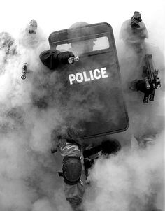 Police state.  Yes, this is a very scary picture.  Riot protection or full on Marshall Law.