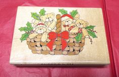 Christmas Teddy Bears in basket rubber stamp Holidays Holly wood mounted 184-P #SonlightCrafts #TeddyBearsBaskets