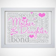 Personalised Word Art Mother Daughter Picture Print Birthday Gift Mum