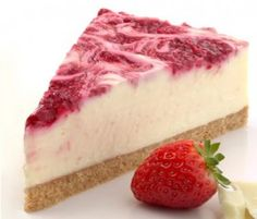 White Chocolate And Berry Cheesecake: The swirls of raspberries through this creamy cheesecake are pretty as a picture. Don't let that stop you digging in. Sweets Recipes, Just Desserts, Baking Recipes, Delicious Desserts, Yummy Food, Ricotta Cheesecake, Berry Cheesecake, Cheesecake Recipes, Healthy Biscuits
