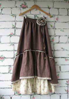 """Купить Юбка в пол льняная """"Винтаж"""" - коричневый, юбка в пол, юбка длинная…"""