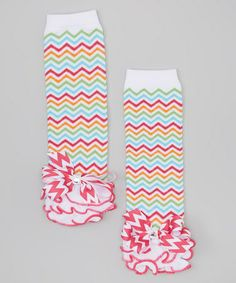 Another great find on #zulily! Red & White Bright Zigzag Ruffle Leg Warmers #zulilyfinds
