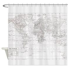 Typography map shower curtain for klarkas room pinterest map white world map shower curtain on cafepress gumiabroncs Gallery
