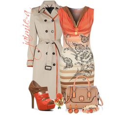 """Orange Trimmed Trench"" by jaimie-a on Polyvore"