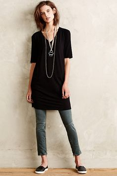 Slubbed Tee Tunic - anthropologie.com  Great length to wear with leggings and boots