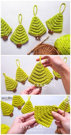 Crochet Easy Christmas Tree Ornament In this tutorial I'm going to show . , Crochet Easy Christmas Tree Ornament In this tutorial I'm going to show you how to crochet an easy Christmas tree ornament step by step. Crochet Ornament Patterns, Christmas Crochet Patterns, Holiday Crochet, Crochet Gifts, Crochet Tree, Crochet Motif, Crochet Flowers, Crochet Stitches, Crochet Baby