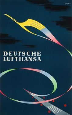 vintage Lufthansa advertisement, Theodor Abeking, 1956