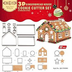 (Set of Gingerbread House Cookie Cutter Set, Bake Your Own Small Christmas House Kit, Chocolate House, Haunted House, Gift Box Packaging Christmas Gingerbread House, 3d Christmas, Christmas Baking, Gingerbread Cookies, Gingerbread Houses, Xmas, Christmas Cookie Cutters, Christmas Cookies, Chocolate Navidad