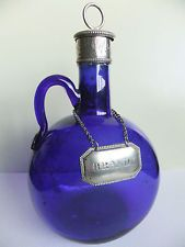 Rare Vintage Bristol Blue Glass Brandy Decanter Flask Silver Plated Hand Blown Antique Bottles, Vintage Bottles, Bottles And Jars, Antique Glass, Perfume Bottles, Cobalt Glass, Cobalt Blue, Love Blue, Color Blue