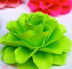 Lime Green  Rosetta Handmade Paper Flowers  by DragonflyExpression