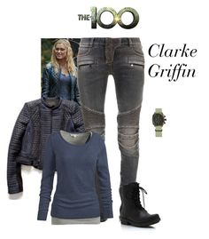 """""""Clarke Griffin - The 100"""" by gone-girl ❤ liked on Polyvore featuring Balmain, Fat Face, the100, ClarkeGriffin and SkyGirl"""