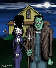 American Gothic Frankenstein And Wife.