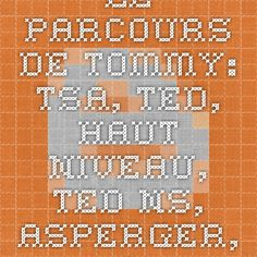 Le parcours de Tommy: TSA, TED, Haut-niveau, TED-NS, Asperger, Autisme, Autisme atypique, Kanner…
