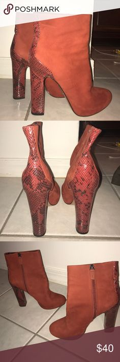 Boutique 9 Matte Leather Ankle Boots Worn Once! Rust with Faux Snake Skin Heels NO TEARS OR SCUFFS WHATSOEVER. Platform wooden heel and sole. Nappa leather interior. 100% matte genuine dyed leather. Boutique 9 Shoes