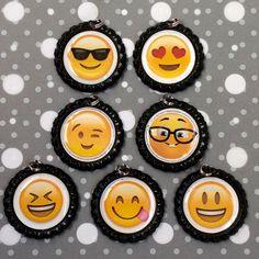 Emoji bottlecap necklaces! Www.etsy.com/shop/socialverbiage