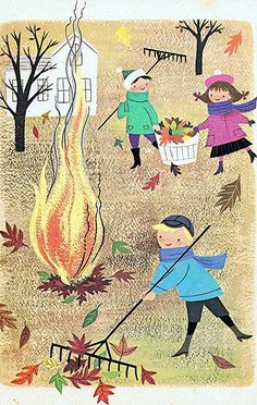 We rake the leaves, we feed the fire, autumn chills, we desire. We watch the leaves, we smell the air, autumn stay, forever and ever.
