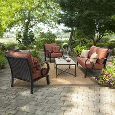 Allen roth patio furniture lowesallen   roth 2 Piece Gatewood Outdoor Loveseat and Coffee Table  . Lowes Outdoor Living Sets. Home Design Ideas