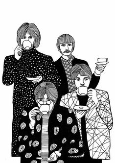 Art Print The Beatles Drinking Tea, Illustration Print, Black and White Les Beatles, Beatles Art, Beatles Photos, Gift For Music Lover, Music Lovers, Tee Illustration, Pop Art, We Will Rock You, Black And White Wall Art
