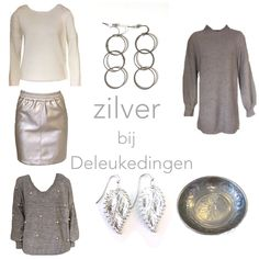 Sporty.....with a touch of metalliic! www.deleukedingen.nl #mixandmatch #goodlook #weekendlook #sweatdress #metallicskirt #earrings #pearls #shopping #shoppingonline #deleukedingen
