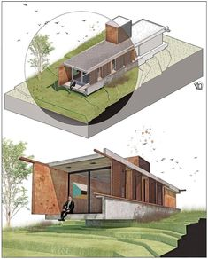 Architecture Collage, Architecture Student, Architecture Drawings, Concept Architecture, Architecture Details, Landscape Architecture, Rendering Techniques, Photoshop Design, Picture Design