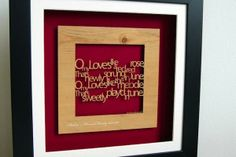 Personalised 'A Red Red Rose' Wall Art by Urban Twist. From the famous Robert Burns Poem; 'My love is like a red, red rose'. This wall art is an ideal gift for a special occasion; from Weddings to Anniversaries. Tartan Week Shop.